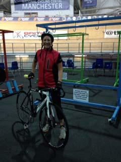 Jo looking happier at velodrome